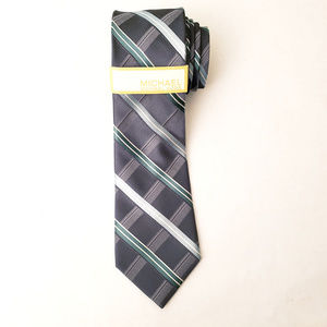 Michael Kors Gray Blue Striped Thick Silk Tie